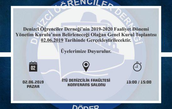 2019-2020 Faaliyet Dönemi Olağan Genel Kurul 02.06.2019'da İTÜ Denizcilik Fakültesi'nde Yapılacak