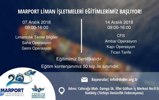 MARPORT LİMAN İŞLETMELERİ EĞİTİMLERİMİZ BAŞLIYOR!